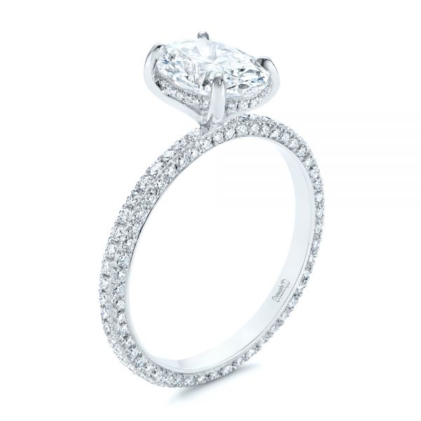 Oval Diamond and Pave Engagement Ring - Image