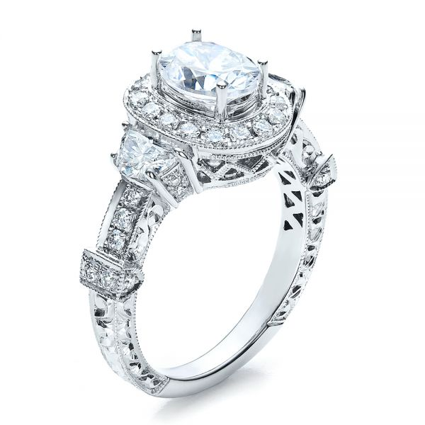 Oval Engagement Ring Half Moon Side Stones- Vanna K - Image