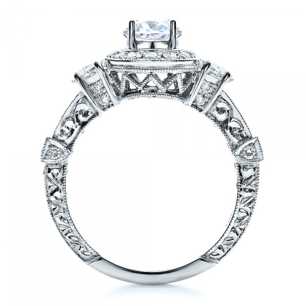 Oval Engagement Ring Half Moon Side Stones- Vanna K - Finger Through View