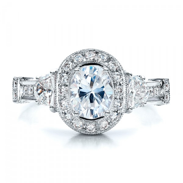 Oval Engagement Ring Half Moon Side Stones- Vanna K - Top View