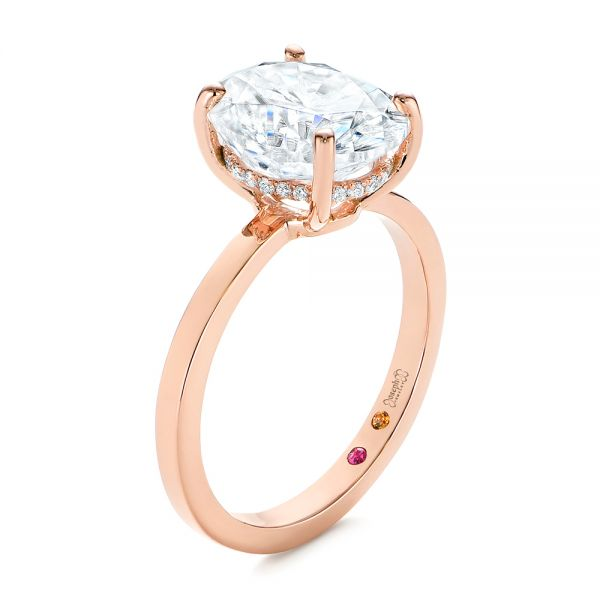 14k Rose Gold Oval Moissanite And Diamond Engagement Ring - Three-Quarter View -