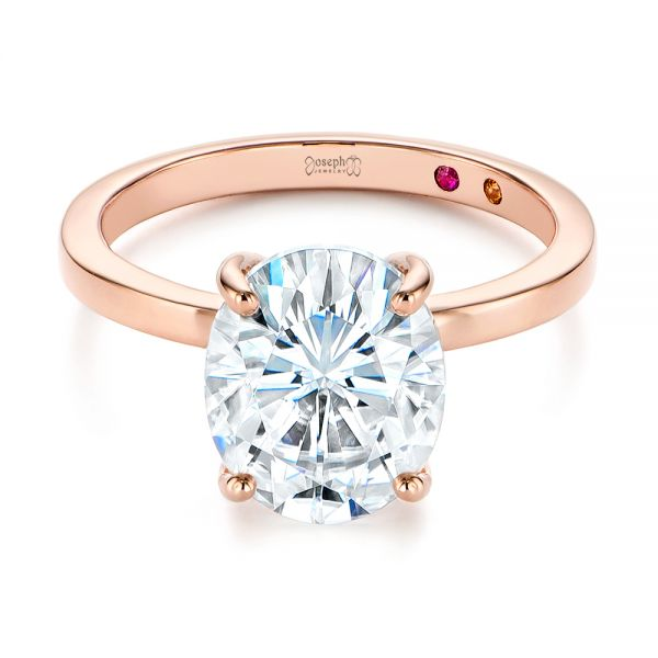 14k Rose Gold Oval Moissanite And Diamond Engagement Ring - Flat View -  105715 - Thumbnail