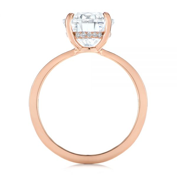 14k Rose Gold Oval Moissanite And Diamond Engagement Ring - Front View -  105715 - Thumbnail