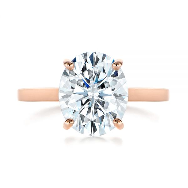 14k Rose Gold Oval Moissanite And Diamond Engagement Ring - Top View -  105715 - Thumbnail