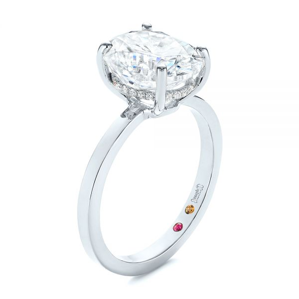 Oval Moissanite and Diamond Engagement Ring - Image