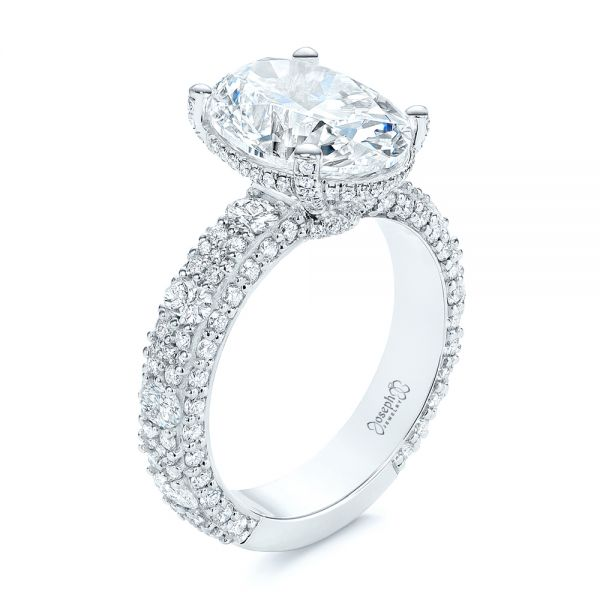 Platinum Oval Pave Diamond Engagement Ring - Three-Quarter View -  105870