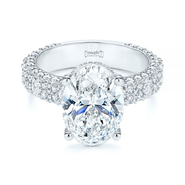 Platinum Oval Pave Diamond Engagement Ring - Flat View -  105870