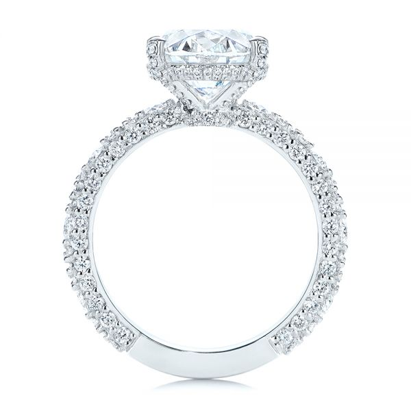 Platinum Oval Pave Diamond Engagement Ring - Front View -  105870