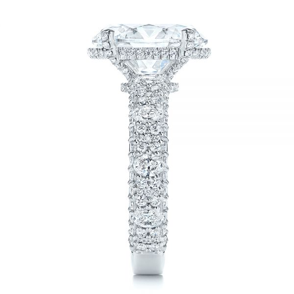 Platinum Oval Pave Diamond Engagement Ring - Side View -  105870