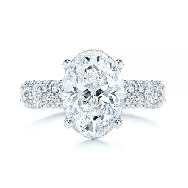 Platinum Oval Pave Diamond Engagement Ring - Top View -  105870