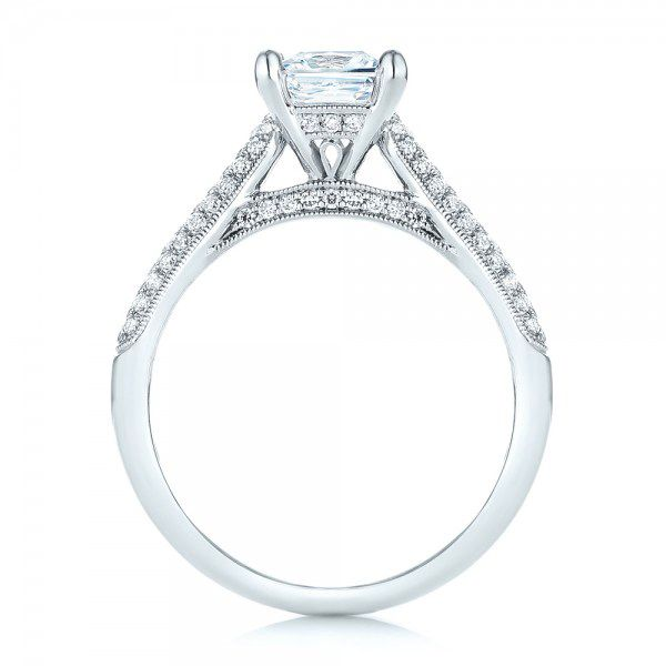 Pavé Diamond Engagement Ring - Front View -  103089 - Thumbnail