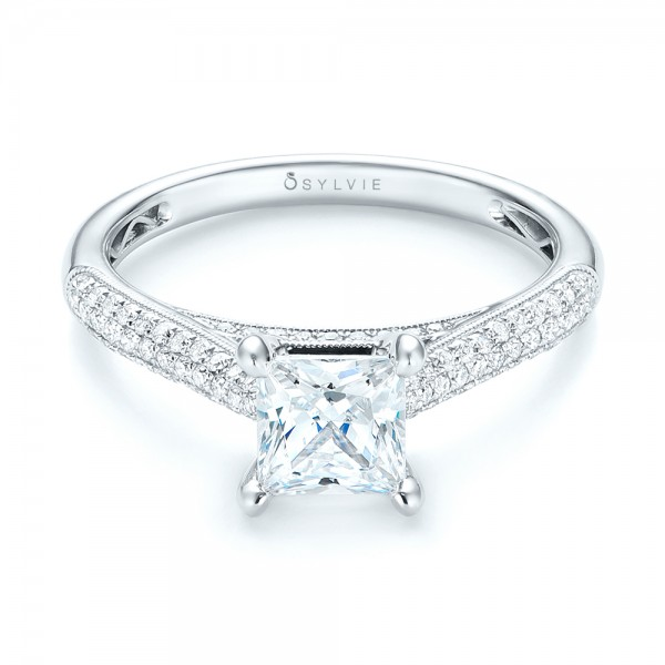 Pavé Diamond Engagement Ring - Laying View