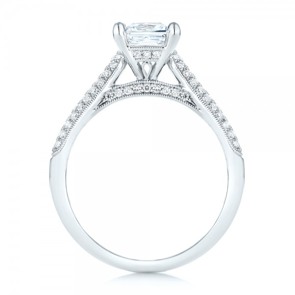 Pavé Diamond Engagement Ring - Finger Through View
