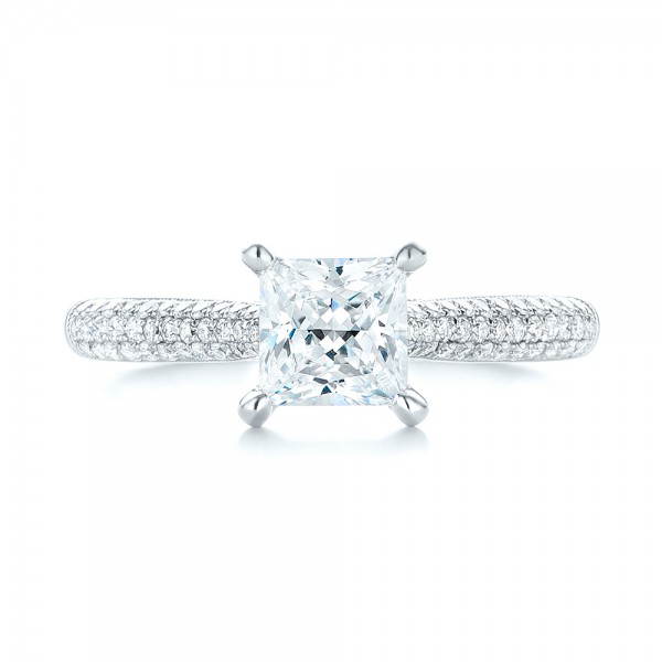 Pavé Diamond Engagement Ring - Top View