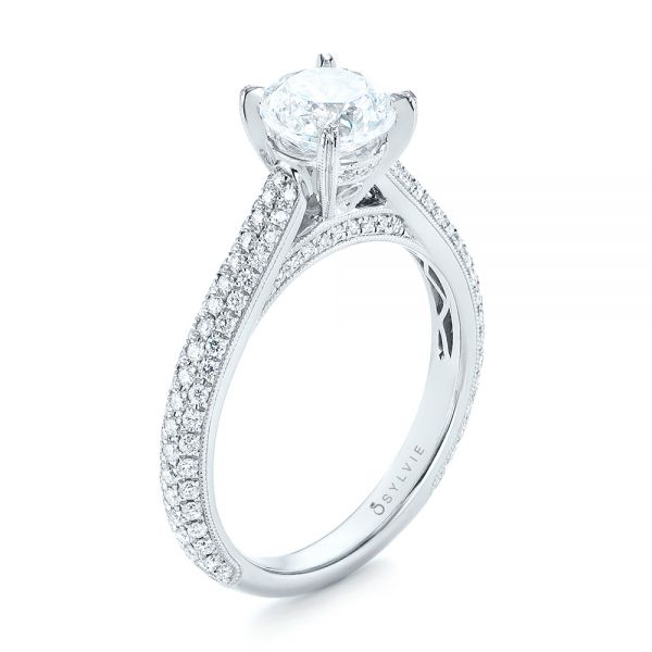 Pave Diamond Engagement Ring - Image