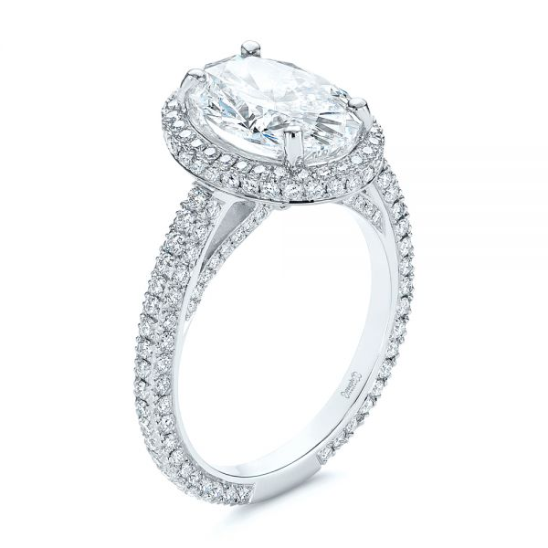 Platinum Pave Diamond Halo Engagement Ring - Three-Quarter View -