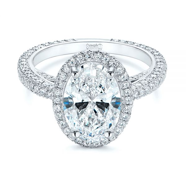 Platinum Pave Diamond Halo Engagement Ring - Flat View -