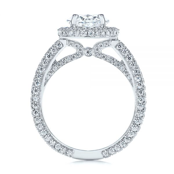 Platinum Pave Diamond Halo Engagement Ring - Front View -