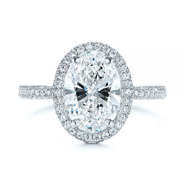 Platinum Pave Diamond Halo Engagement Ring - Top View -