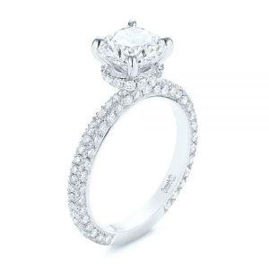Pave Diamond Hidden Halo Engagement Ring - Image