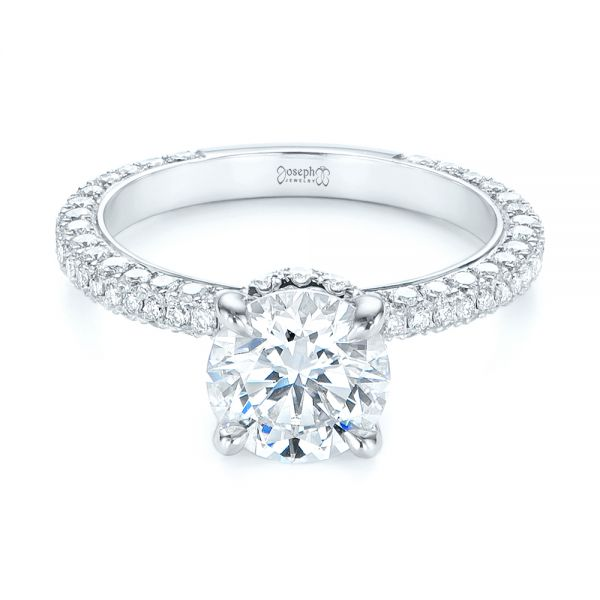 Pave Diamond Hidden Halo Engagement Ring