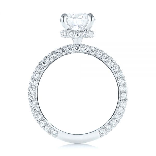 14k White Gold Pave Diamond Hidden Halo Engagement Ring - Front View -  105116 - Thumbnail