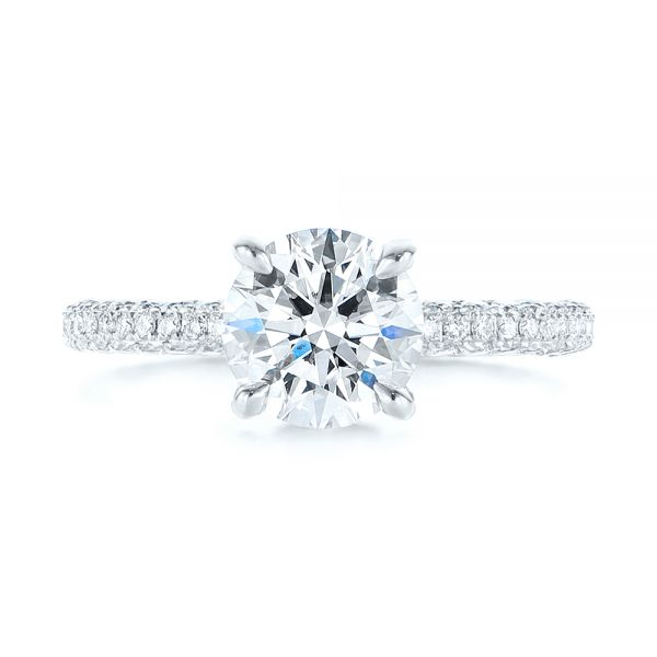 14k White Gold Pave Diamond Hidden Halo Engagement Ring - Top View -  105116 - Thumbnail