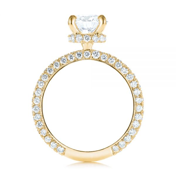 14K Yellow Gold Pave Diamond Hidden Halo Engagement Ring - Front View -  105116 - Thumbnail