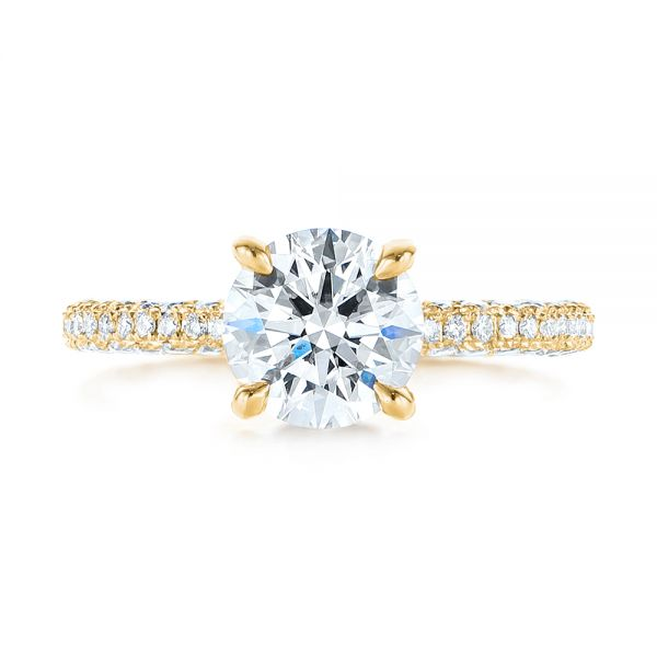 14K Yellow Gold Pave Diamond Hidden Halo Engagement Ring - Top View -  105116 - Thumbnail