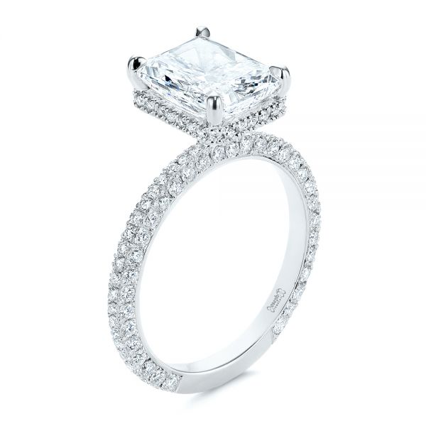 Pave Diamond and Hidden Halo Engagement Ring - Image
