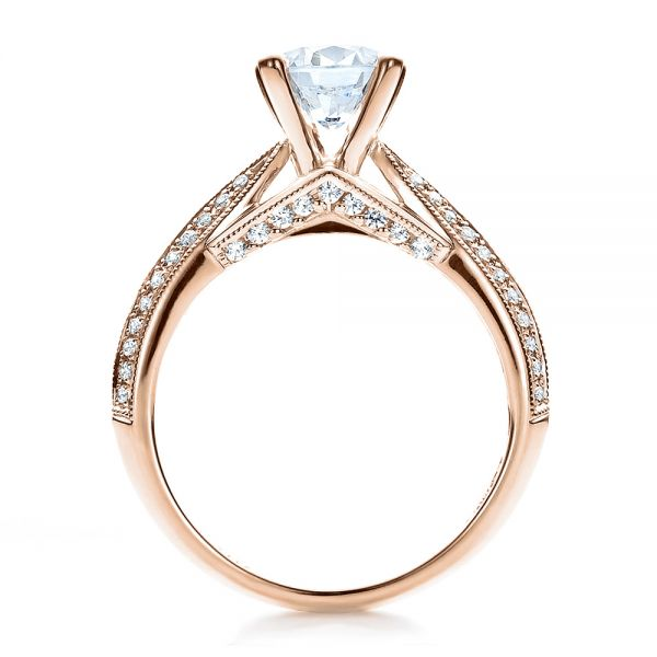 14K Rose Gold Pave Engagement Ring - Vanna K - Front View -  100080 - Thumbnail