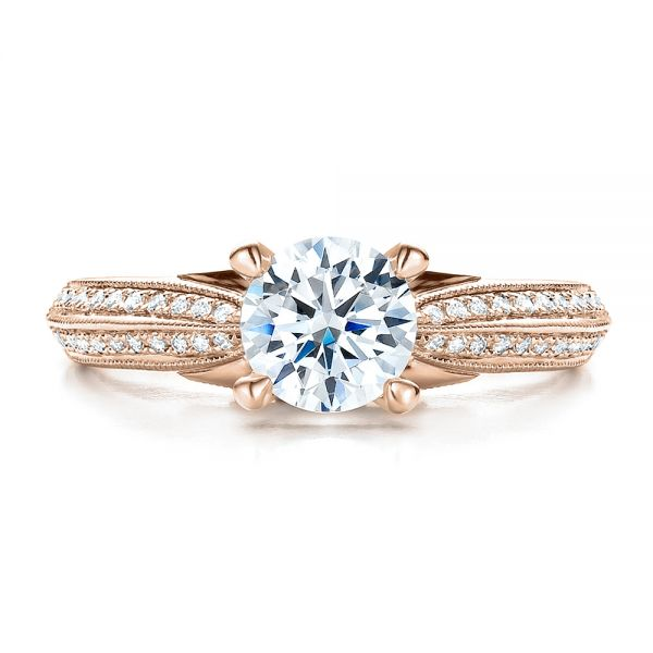 14K Rose Gold Pave Engagement Ring - Vanna K - Top View -  100080 - Thumbnail