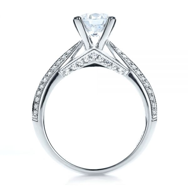 14K White Gold Pave Engagement Ring - Vanna K - Front View -  100080 - Thumbnail