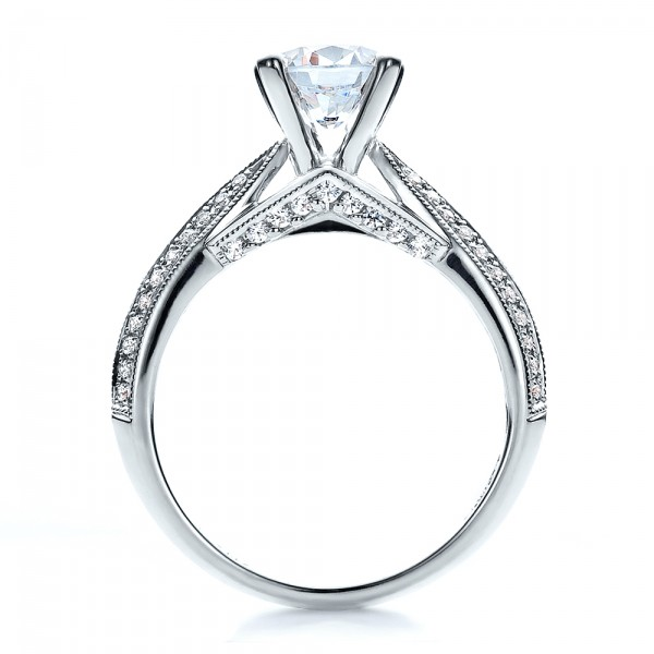 Pave Engagement Ring - Vanna K - Finger Through View