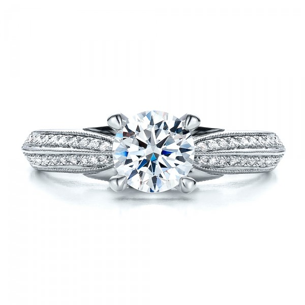Pave Engagement Ring - Vanna K - Top View