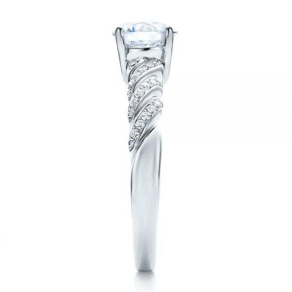 Pave, Filigree Engagement Ring - Vanna K - Side View -  100073 - Thumbnail