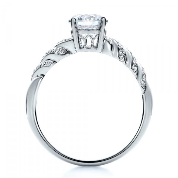 Pave, Filigree Engagement Ring - Vanna K - Finger Through View