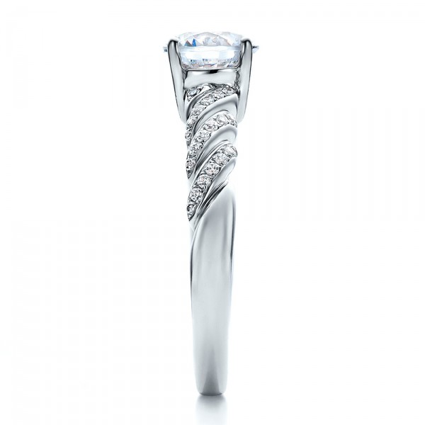 Pave, Filigree Engagement Ring - Vanna K - Side View