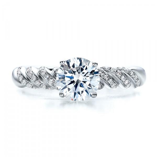 Pave, Filigree Engagement Ring - Vanna K - Top View