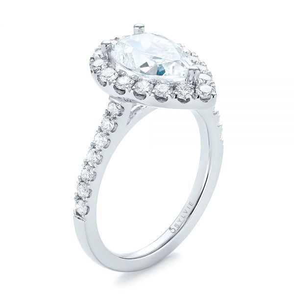 Pear-Shaped Halo Diamond Engagement Ring - Image