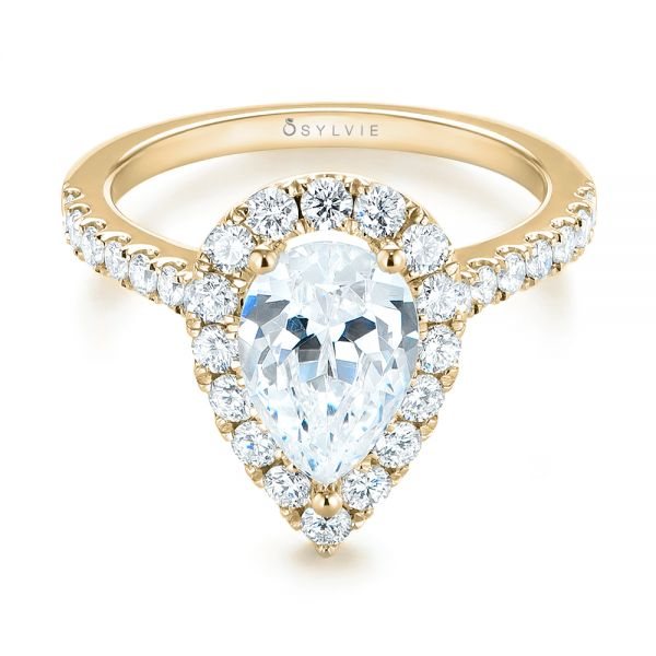 Pear Shaped Halo Engagement Ring: 18k Yellow Gold Pear-shaped Halo Diamond Engagement Ring