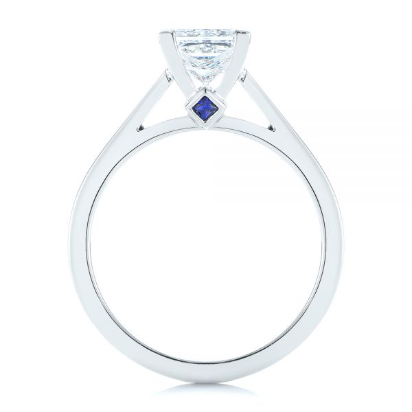Platinum Peekaboo Blue Sapphire And Diamond Solitaire Engagement Ring - Front View -  105718 - Thumbnail