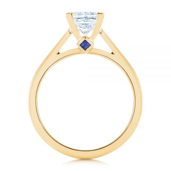 14k Yellow Gold 14k Yellow Gold Peekaboo Blue Sapphire And Diamond Solitaire Engagement Ring - Front View -  105718