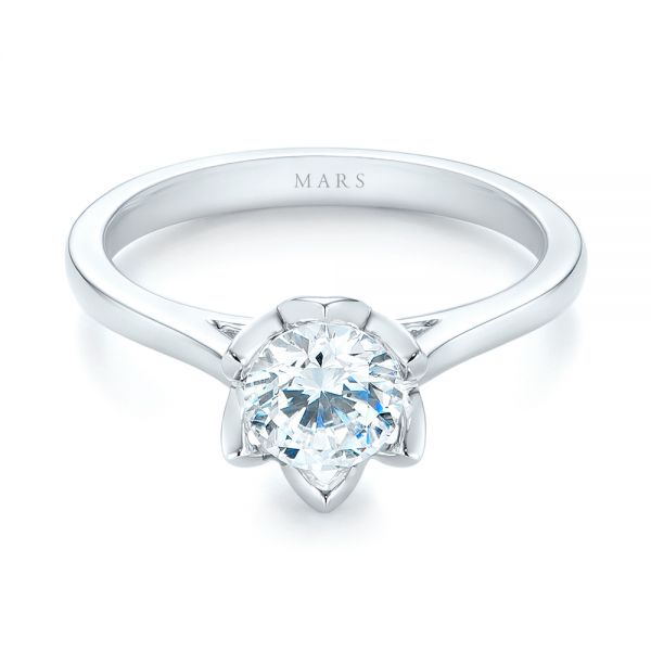 Peekaboo Diamond Solitaire Engagement Ring - Flat View -  103684 - Thumbnail