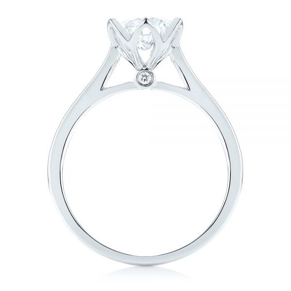 Peekaboo Diamond Solitaire Engagement Ring - Front View -  103684 - Thumbnail