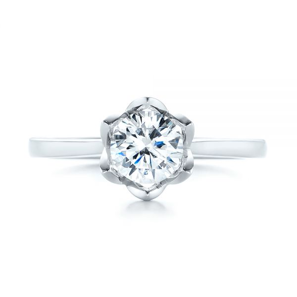 Peekaboo Diamond Solitaire Engagement Ring - Top View -  103684 - Thumbnail
