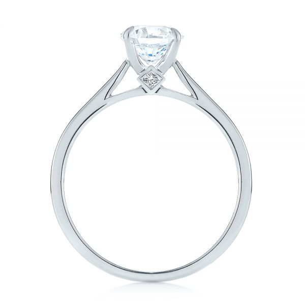 14k White Gold Peekaboo Princess Cut Diamond Engagement Ring - Front View -  104266