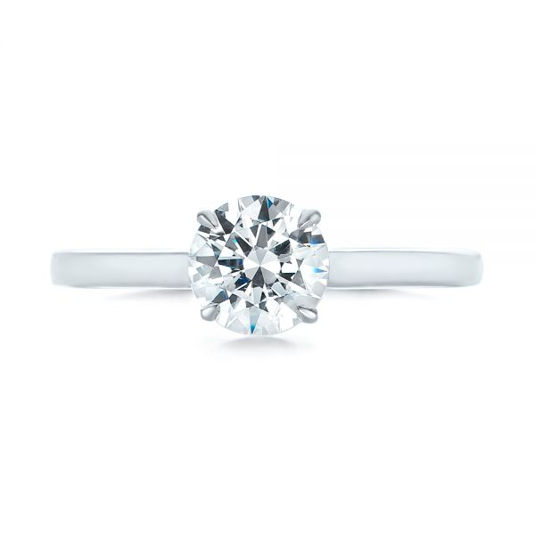 14k White Gold Peekaboo Princess Cut Diamond Engagement Ring - Top View -  104266