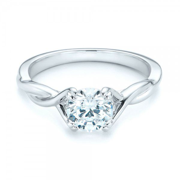 Petite Twist Solitaire Engagement Ring - Flat View -  102702 - Thumbnail