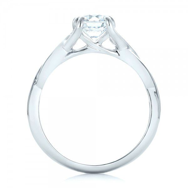 Petite Twist Solitaire Engagement Ring - Front View -  102702 - Thumbnail
